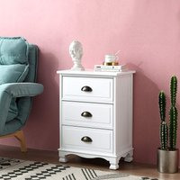 Cherry Tree Furniture CAMROSE Wooden Chest of Drawers/Bedside Table with Metal Cup Pull Handles White 3 Drawer