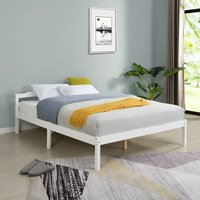 Cherry Tree Furniture Curran FSC-Certified Solid Wood Bed Frame in White UK Small Double