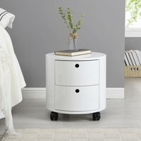 Meriden Furniture - Cherry Tree Furniture DOLIO Drum Chest Bedside Table, Barrel Side Table with Drawers High Gloss White 2 Drawer