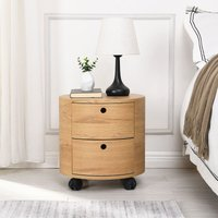Meriden Furniture - Cherry Tree Furniture DOLIO Drum Chest Bedside Table, Barrel Side Table with Drawers Oak 2 Drawer