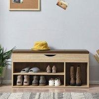 Meriden Furniture - Cherry Tree Furniture Hallway Shoe Rack Padded Bench Storage 103.5 x 29.5 x 48 cm Oak