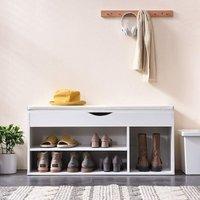 Cherry Tree Furniture Hallway Shoe Rack Padded Bench Storage 103.5 x 29.5 x 48 cm White