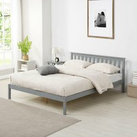 Cherry Tree Furniture Linnelle FSC Certified Solid Wood Bed Frame in Grey UK Double