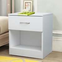 Chest of Drawers Bedroom Furniture Bedside Cabinet with Handle 1 Drawer White 40x36x47cm - NRG