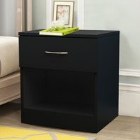 Chest of Drawers Bedroom Furniture Bedside Cabinet with Handle 1 Drawer Black 40x36x47cm - NRG