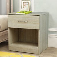 Chest of Drawers Bedroom Furniture Bedside Cabinet with Handle 1 Drawer Oak 40x36x47cm - NRG