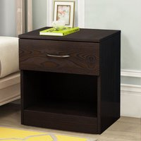 Chest of Drawers Bedroom Furniture Bedside Cabinet with Handle 1 Drawer Walnut 40x36x47cm - NRG