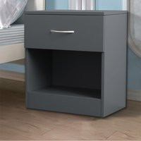 Chest of Drawers Bedroom Furniture Bedside Cabinet with Handle 1 Drawer Grey 40x36x47cm - NRG