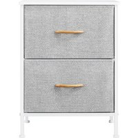 Chest of Drawers, Small Vertical Dresser with 2 Gray Fabric Drawers and Metal Frame, Cloth Organizer Unit Narrow Bedside Table and Cabinets for