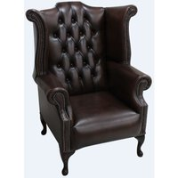 Designer Sofas 4 U - Chesterfield 1780s Queen Anne High Back Wing Chair Antique Brown leather