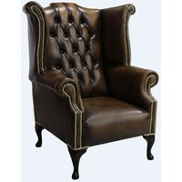Designer Sofas 4 U - Chesterfield 1780s Queen Anne High Back Wing Chair Antique Tan leather