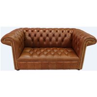 Designer Sofas 4 U - Chesterfield 1857 2 Seater Buttoned Seat Leather Sofa Old English Bruciato