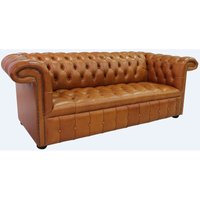 Chesterfield 1857 3 Seater Buttoned Seat Leather Sofa Old English Bruciato - DESIGNER SOFAS 4 U