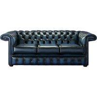 Designer Sofas 4 U - Chesterfield 1857 Hockey Stick 3 Seater Antique Blue Leather Sofa Offer