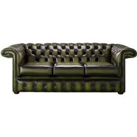 Designer Sofas 4 U - Chesterfield 1857 Hockey Stick 3 Seater Antique Olive Leather Sofa Offer