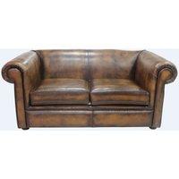 Designer Sofas 4 U - Chesterfield 1930s 2 Seater Settee Antique Tan Leather Sofa
