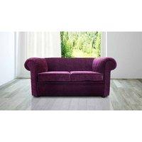 Designer Sofas 4 U - Chesterfield 1930s 2 Seater Settee Purple Aubergine Fabric Sofa