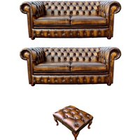 Designer Sofas 4 U - Chesterfield 2+2+footstool Leather Sofa Offer antique Gold leather