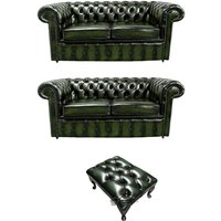 Designer Sofas 4 U - Chesterfield 2+2+footstool Leather Sofa Offer antique Green leather
