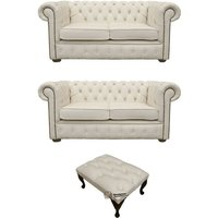 Chesterfield 2+2+footstool Leather Sofa Offer Ivory leather - DESIGNER SOFAS 4 U