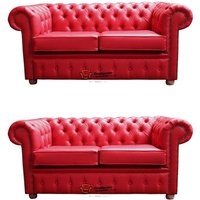 Chesterfield 2+2 Old English Gamay Red Sofa Offer - DESIGNER SOFAS 4 U