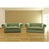 Chesterfield 2+2 Seater Sofa Settee Sage Green Fabric Suite Offer - DESIGNER SOFAS 4 U