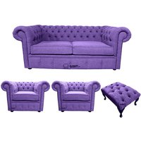 Chesterfield 2 Seater + 2 x Club chairs + Footstool Verity Purple Fabric Sofa Suite Offer - DESIGNER SOFAS 4 U