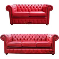 Chesterfield 2 Seater + 3 Seater Sofa Old English Gamay Red Leather Sofa Offer - DESIGNER SOFAS 4 U