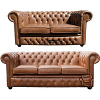 Designer Sofas 4 U - Chesterfield 2 Seater + 3 Seater Sofa Old English Tan Leather Sofa Offer
