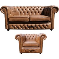 Chesterfield 2 Seater + Club Chair Old English Tan Leather Sofa Offer - DESIGNER SOFAS 4 U