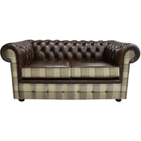 Chesterfield 2 Seater Lewis Check Mushroom and Antique Brown Leather Sofa Offer - DESIGNER SOFAS 4 U