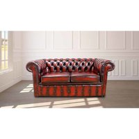 Designer Sofas 4 U - Chesterfield 2 Seater Oxblood Leather Sofa Offer