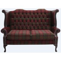 Chesterfield 2 Seater Queen Anne High Back Wing Sofa Chair Lana Terracotta Antique Oxblood Leather - DESIGNER SOFAS 4 U
