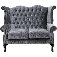 Designer Sofas 4 U - Chesterfield 2 Seater Queen Anne High Back Wing Sofa Chair Modena Regency Grey Velvet