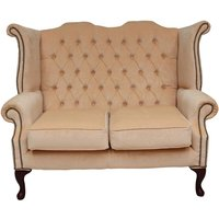 Chesterfield 2 Seater Queen Anne High Back Wing Sofa Chair Velluto Vanilla Fabric - DESIGNER SOFAS 4 U