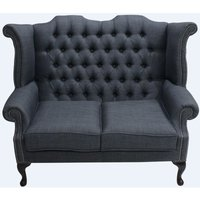 Chesterfield 2 Seater Queen Anne High Back Wing Sofa Charles Charcoal Grey Linen Fabric - DESIGNER SOFAS 4 U