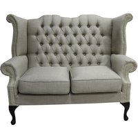 Chesterfield 2 Seater Queen Anne High Back Wing Sofa Charles Fudge Linen Fabric