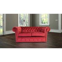 Designer Sofas 4 U - Chesterfield 2 Seater Settee Avanti Carmine Wine Textured Velvet Fabric Sofa Offer