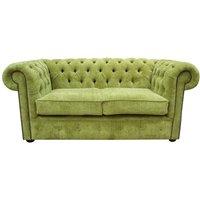 Designer Sofas 4 U - Chesterfield 2 Seater Settee Azzuro Olive Green Velvet Fabric Sofa Offer