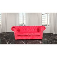 Chesterfield 2 Seater Settee Azzuro Post Box Red Velvet Fabric Sofa Offer