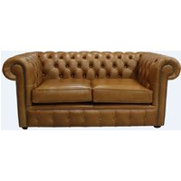 Chesterfield 2 Seater Settee Heritage Caramel Leather Sofa - DESIGNER SOFAS 4 U