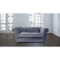 Designer Sofas 4 U - Chesterfield 2 Seater Settee Malta Grey Blue Piping Velvet Fabric Sofa Offer