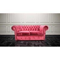 Designer Sofas 4 U - Chesterfield 2 Seater Settee Modena Pillarbox Red Velvet Sofa Offer