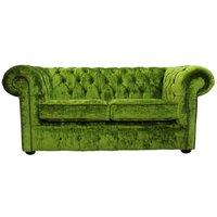 Designer Sofas 4 U - Chesterfield 2 Seater Settee Modena Pistachio Green Velvet Sofa Offer
