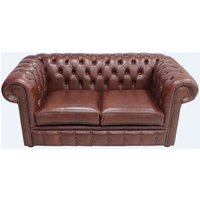 Chesterfield 2 Seater Settee Old Byron Conker Leather Sofa - DESIGNER SOFAS 4 U