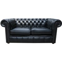 Chesterfield 2 Seater Settee Old English Black Leather Sofa - DESIGNER SOFAS 4 U