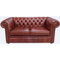 Chesterfield 2 Seater Settee Old English Chestnut Leather Sofa - DESIGNER SOFAS 4 U
