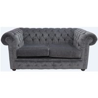Designer Sofas 4 U - Chesterfield 2 Seater Settee Pimlico Charcoal Grey Fabric Sofa Offer