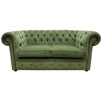 Designer Sofas 4 U - Chesterfield 2 Seater Settee Sage Green Fabric Sofa Offer