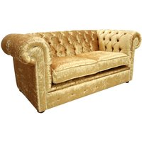 Designer Sofas 4 U - Chesterfield 2 Seater Settee Shimmer Gold Velvet Sofa Offer